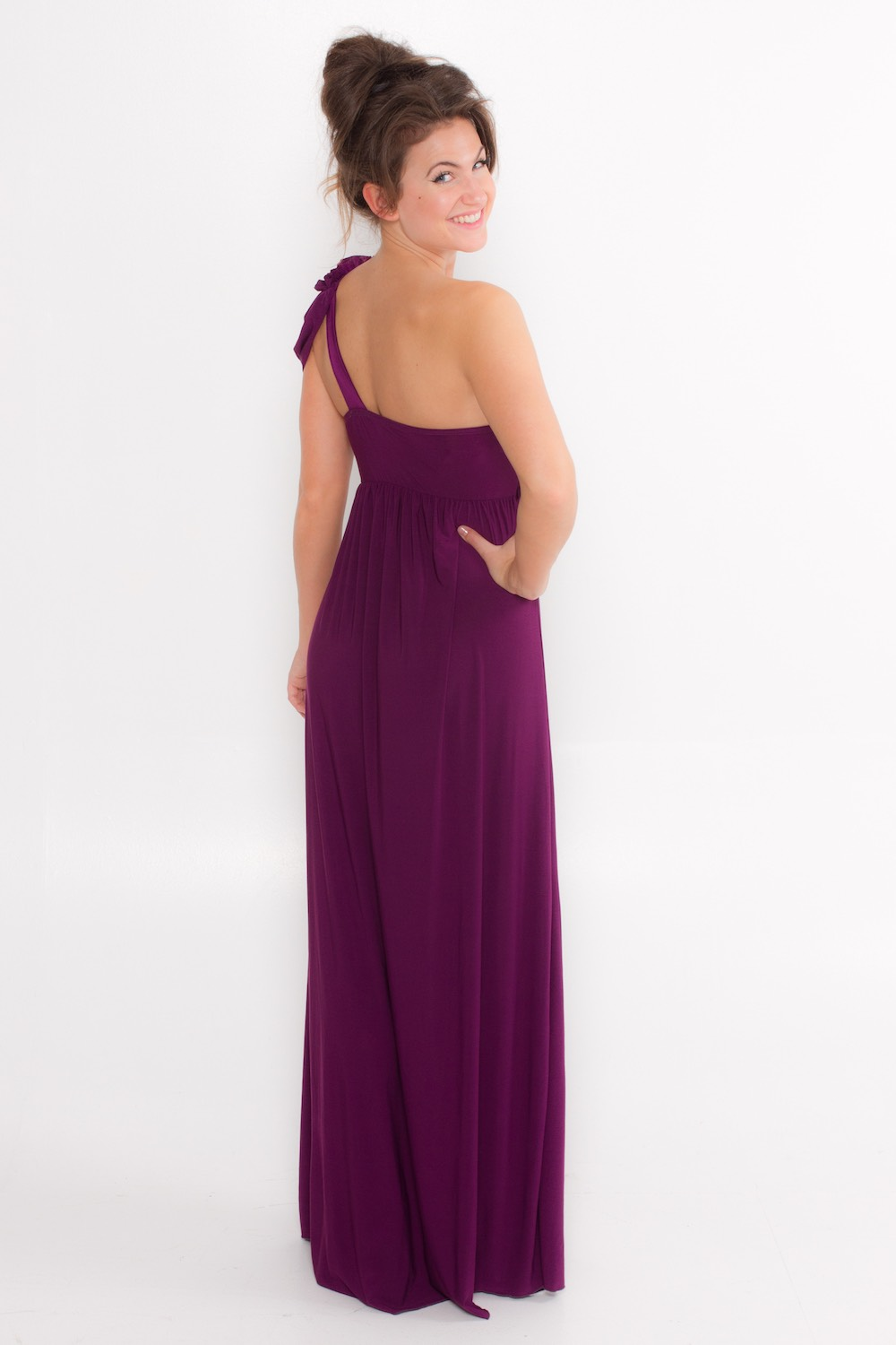Dress L054 Aubergine Rear