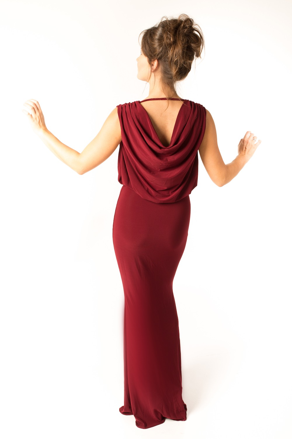 Dress L094 Burgundy Rear