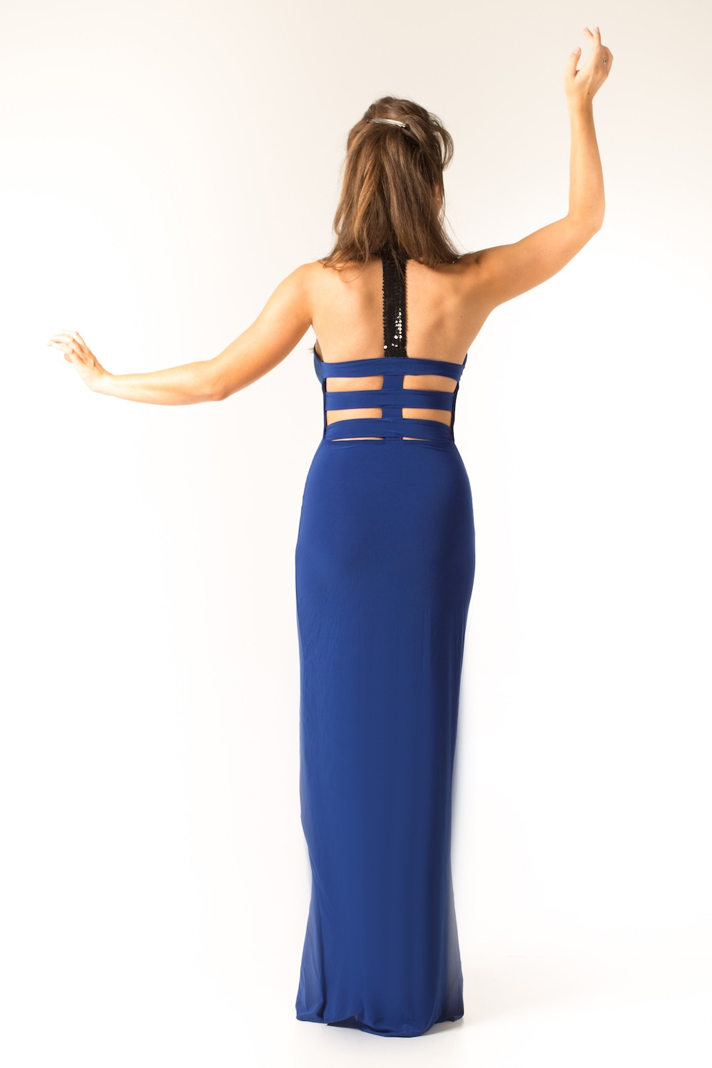 Dress L095 Blue Rear