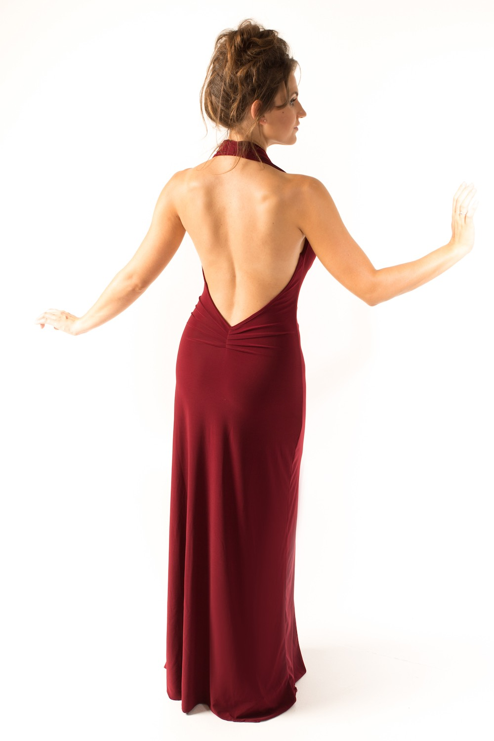 Dress L100 Burgundy Rear