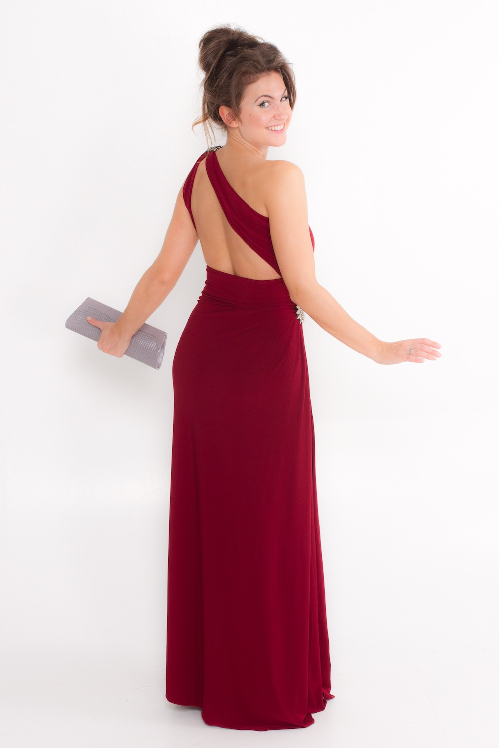 Dress L135O Burgundy Rear