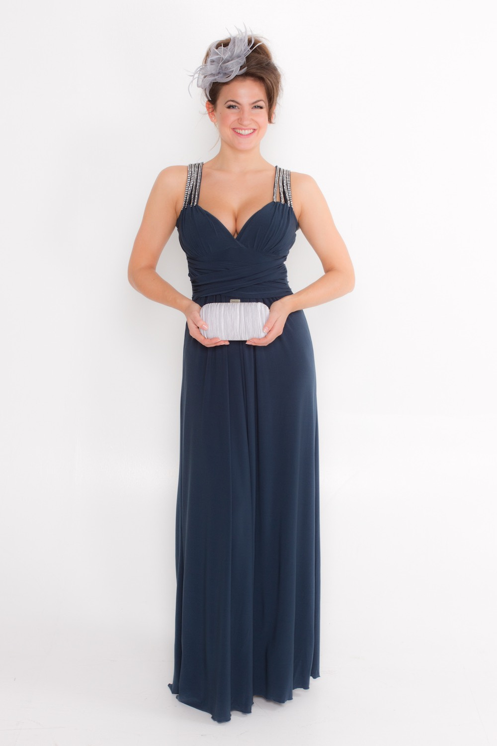 Dress L146 Blue Grey Front