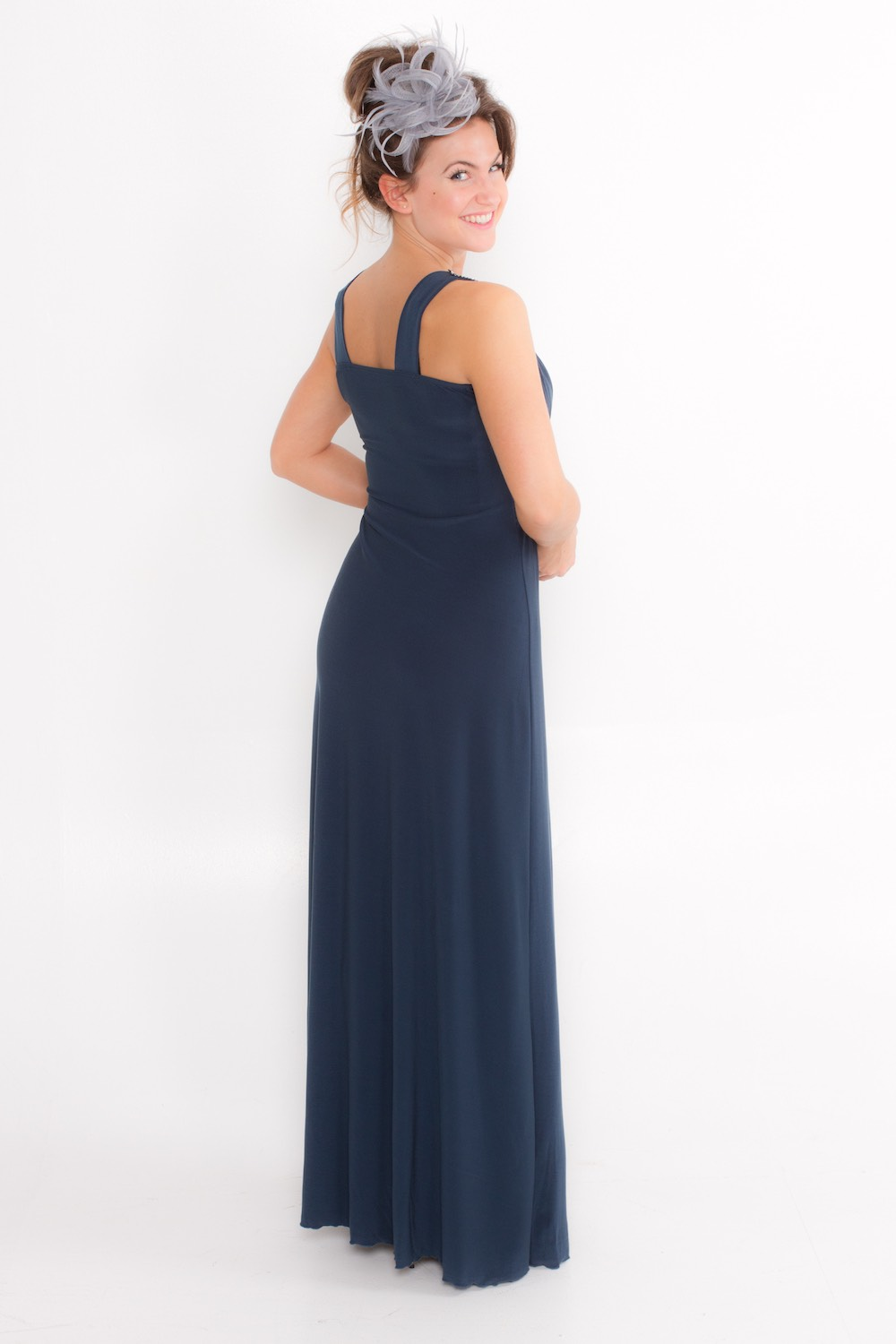Dress L146 Blue Grey Rear