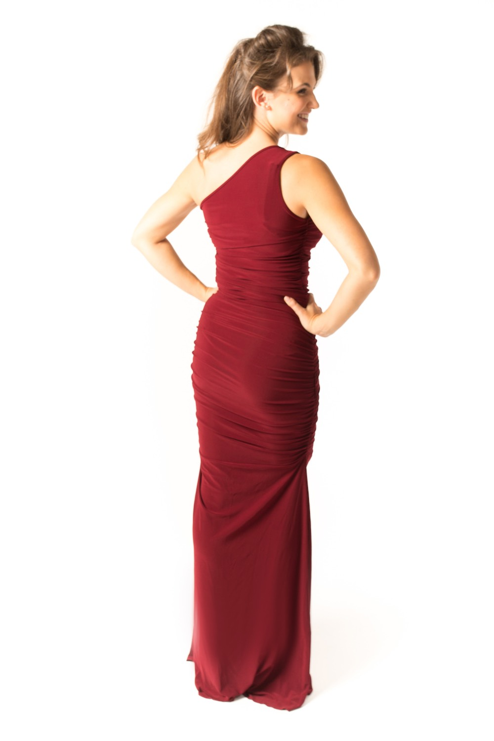 Dress L148 Burgundy Rear