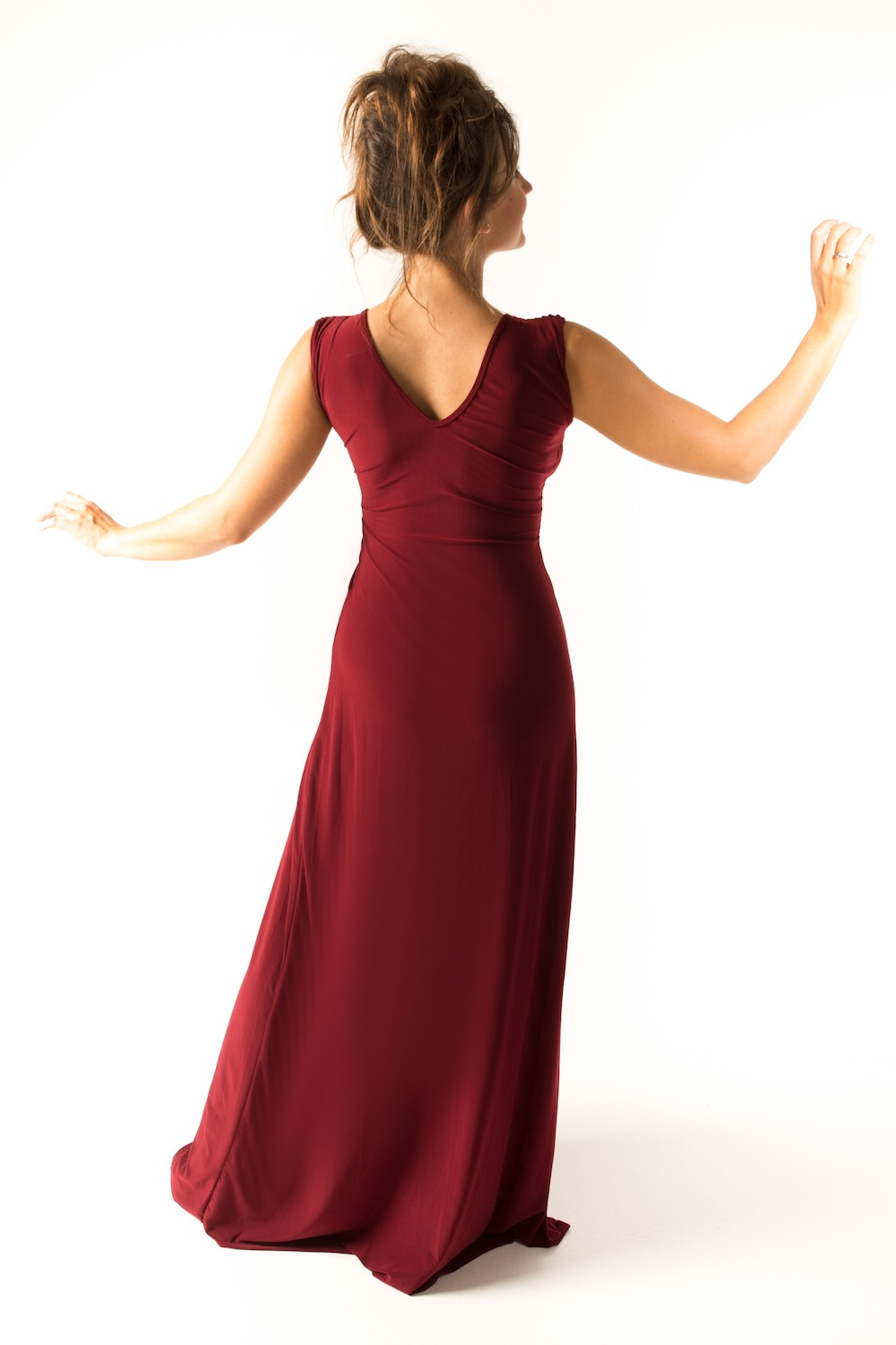 Dress L154 Burgundy Rear