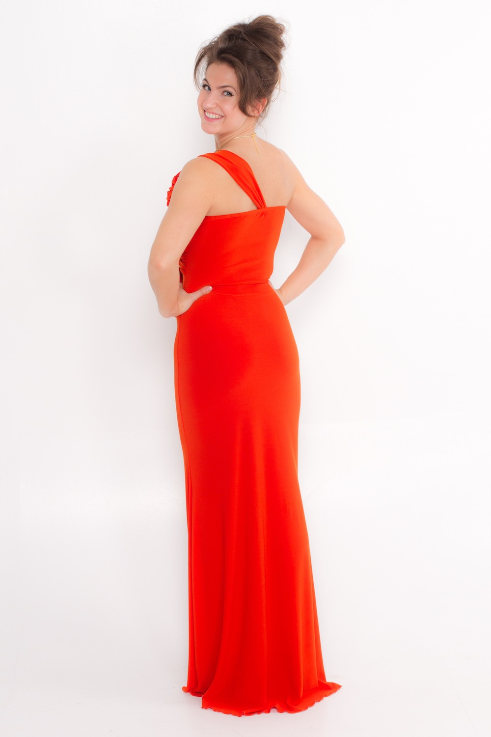 Dress L162 Orange Rear
