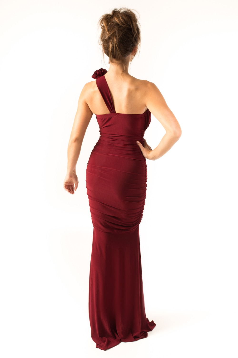 Dress L177 Burgundy Rear