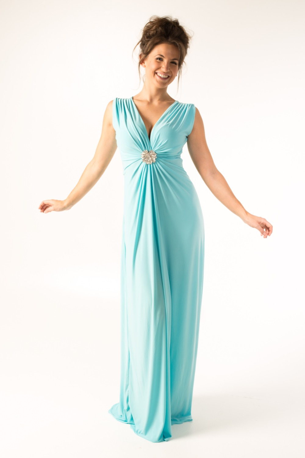 Dress L178B Light Blue Front