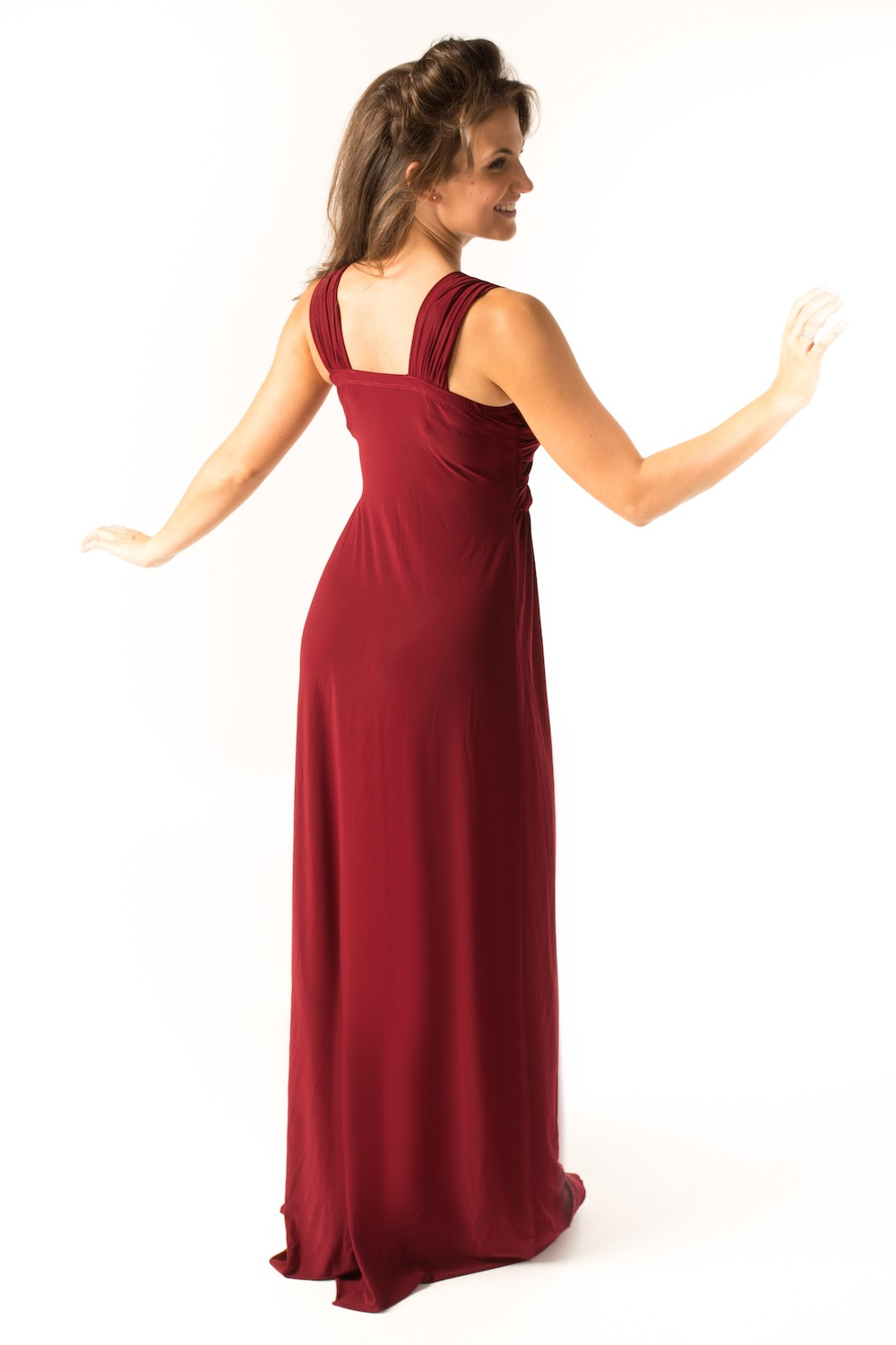 Dress L203 Burgundy Rear