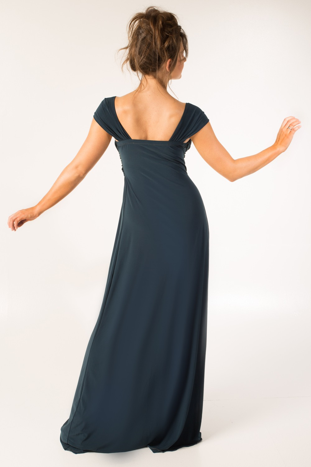 Dress L203 Grey Blue Rear